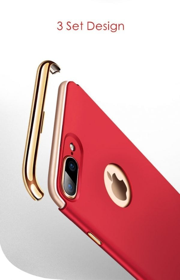 3 in 1 luxe rode telefoonhoesje voor iPhone 7 Ultradunne TPU beschermhoes-006