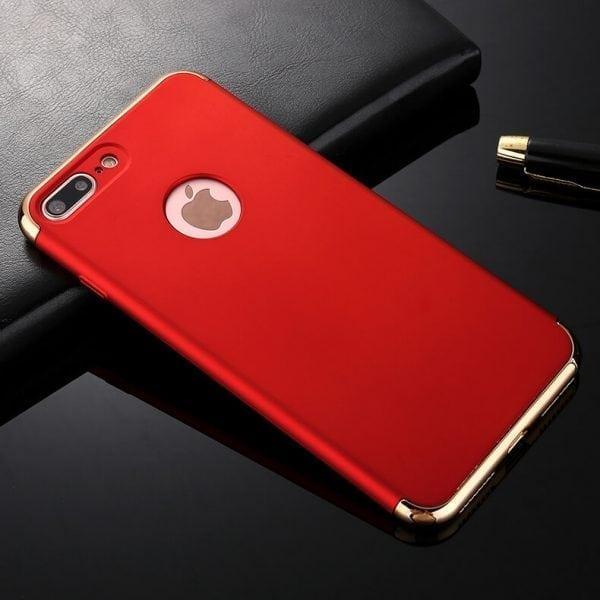 3 in 1 luxe rode telefoonhoesje voor iPhone 7 Ultradunne TPU beschermhoes-011