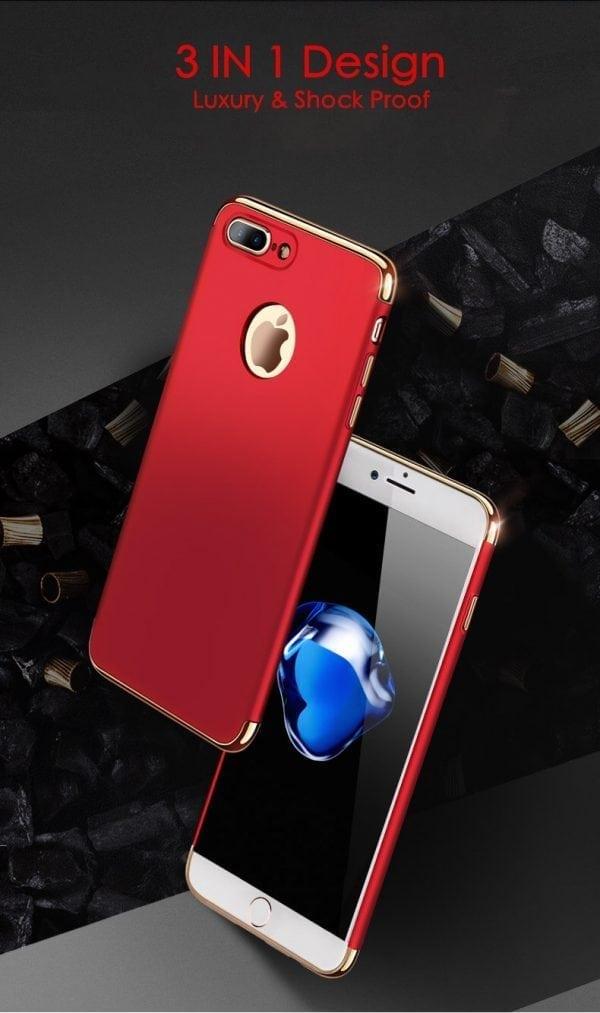 3 in 1 luxe rode telefoonhoesje voor iPhone 7 Ultradunne TPU beschermhoes-012