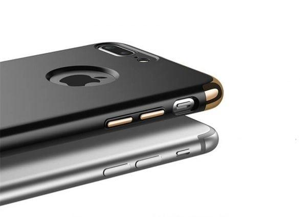 3 in 1 luxe zilveren telefoonhoesje voor iPhone 7 Ultradunne TPU beschermhoes-001