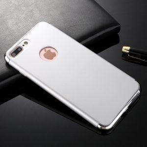 3 in 1 luxe zilveren telefoonhoesje voor iPhone 7 Ultradunne TPU beschermhoes