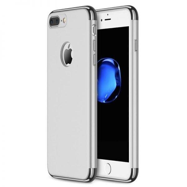 3 in 1 luxe zilveren telefoonhoesje voor iPhone 7 Ultradunne TPU beschermhoes-003