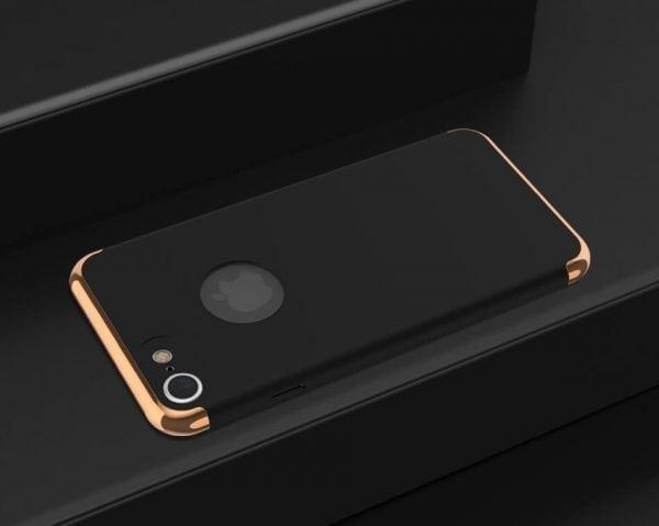 3 in 1 luxe zwarte telefoonhoesje voor iPhone 7 Ultradunne TPU beschermhoes-001
