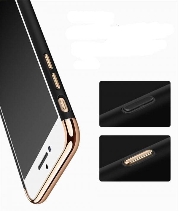 3 in 1 luxe zwarte telefoonhoesje voor iPhone 7 Ultradunne TPU beschermhoes-002
