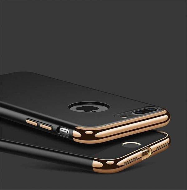 3 in 1 luxe zwarte telefoonhoesje voor iPhone 7 Ultradunne TPU beschermhoes-012