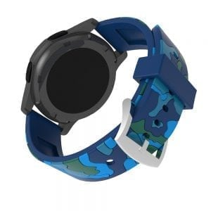 Camouflage bandje voor de Samsung Gear S3 / Galaxy watch 46mm - Siliconen Armband / Polsband / Strap Band / Sportbandje - blauw