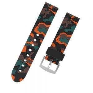 Camouflage bandje voor de Samsung Gear S3 / Galaxy watch 46mm - Siliconen Armband / Polsband / Strap Band / Sportbandje - zwart - oranje