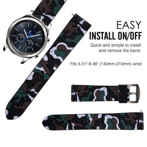Camouflage bandje voor de Samsung Gear S3 Classic Frontier - zwart - wit-012