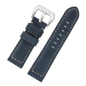 Leren Bandje Voor de Samsung Gear S3 Classic Frontier - Leren Armband Polsband zilveren sluiting blauw-002