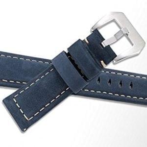 Leren Bandje Voor de Samsung Gear S3 Classic Frontier - Leren Armband Polsband zilveren sluiting blauw-004