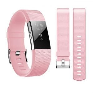 Luxe Siliconen Bandje  large voor FitBit Charge 2 – licht roze