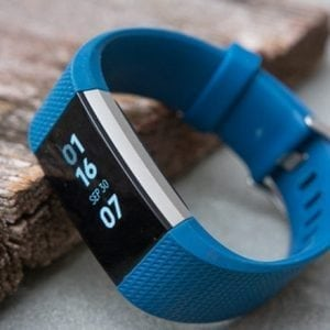 Luxe Siliconen Bandje  large voor FitBit Charge 2 – navy blauw