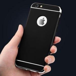 Luxe zwarte telefoonhoesje voor iPhone 6 / 6s Plus Ultradunne TPU beschermhoes