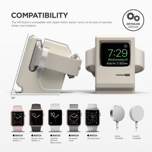 Vintage Night Stand voor Apple Watch - Wit houder voor Apple Watch Vintage Apple Monitor Apple Watch Series 1, 2, en 3