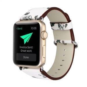 Bloemen design lederen bandje wit - grijs met klassieke gesp voor Apple Watch 42mm-602