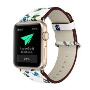Bloemen design lederen bandje wit - paars met klassieke gesp voor Apple Watch 42mm-501
