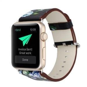 Bloemen design lederen bandje zwart - groen met klassieke gesp voor Apple Watch 42mm-301