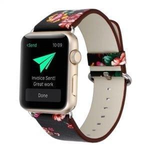 Bloemen design lederen bandje zwart met klassieke gesp voor Apple Watch 42mm-003
