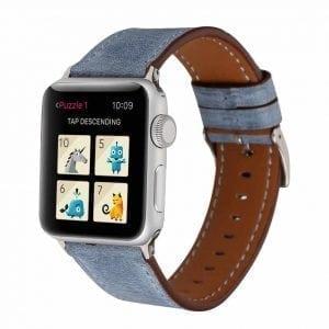 Lederen bandje blauw met klassieke gesp voor Apple Watch 42mm-006