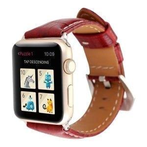 Lederen bandje rood met klassieke gesp voor Apple Watch 42mm vervangende horlogeband voor Iwatch Series 321-004