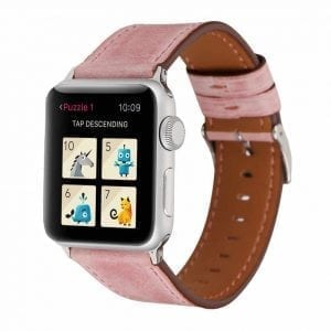 Lederen bandje roze met klassieke gesp voor Apple Watch 42mm-003