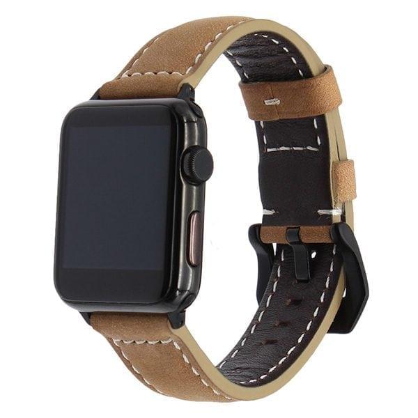 Leren bandje bruin met klassieke zwarte gesp voor Apple Watch 42mm-003