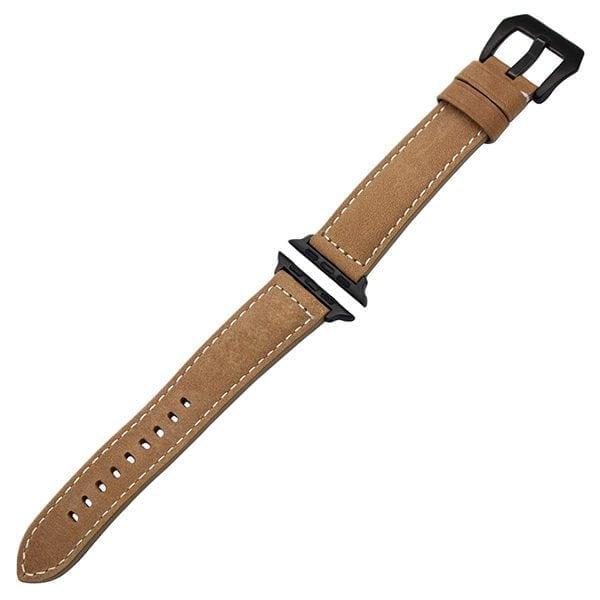 Leren bandje bruin met klassieke zwarte gesp voor Apple Watch 42mm-004