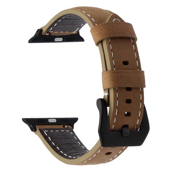 Leren bandje bruin met klassieke zwarte gesp voor Apple Watch 42mm-005