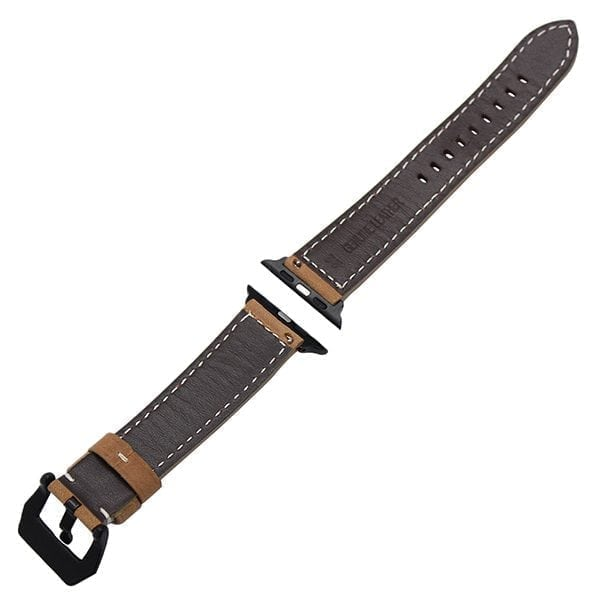 Leren bandje bruin met klassieke zwarte gesp voor Apple Watch 42mm-006