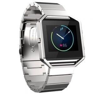 RVS zilver metalen bandje - armband voor de Fitbit Blaze met vlindersluiting_002