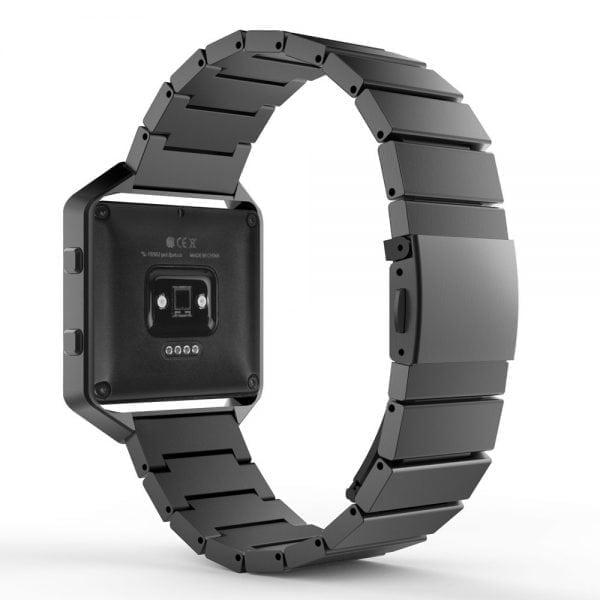 RVS zwart metalen bandje - armband voor de Fitbit Blaze met vlindersluiting_001
