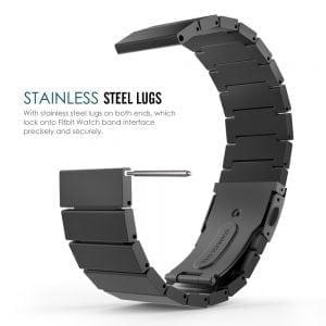RVS zwart metalen bandje - armband voor de Fitbit Blaze met vlindersluiting_002