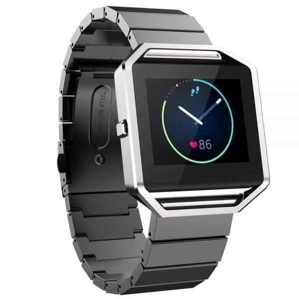 RVS zwart metalen bandje - armband voor de Fitbit Blaze met vlindersluiting_007