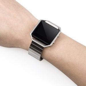 RVS zwart metalen bandje - armband voor de Fitbit Blaze met vlindersluiting_008