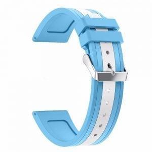 Samsung Gear S3 Duo bandje Voor de Samsung Gear S3 Classic Frontier - Siliconen - lichtblauw - wit-003
