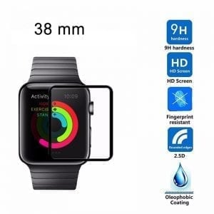 Screen Protector Tempered Glass Apple Watch Series 1 / 2 / 3 (38mm) - Black edge | niet full cover