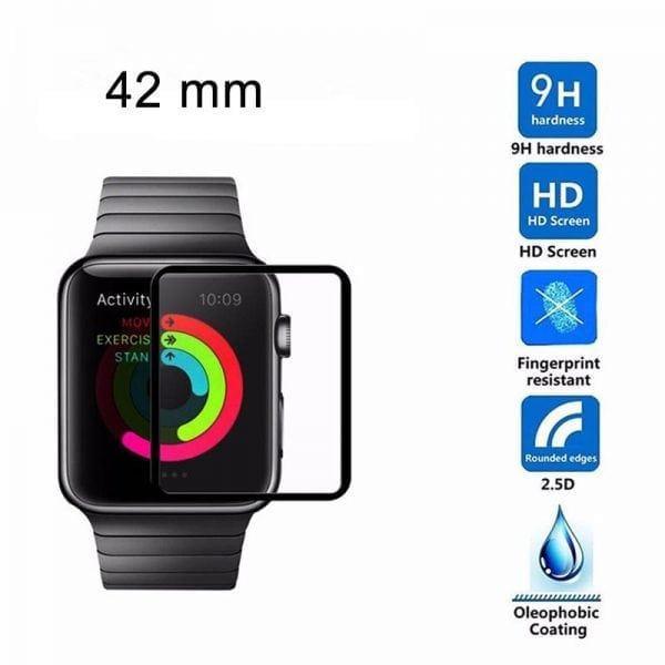Screen Protector Tempered Glass Apple Watch Series 1 2 3 (42mm) - Black edge niet full cover-004