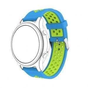 Sportbandje Voor de Samsung Gear S3 Classic Frontier - Siliconen Armband Polsband Strap Band Sportbandje - blauw - groen-001
