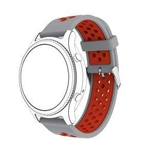 Sportbandje Voor de Samsung Gear S3 Classic Frontier - Siliconen Armband Polsband Strap Band Sportbandje - grijs - rood-001