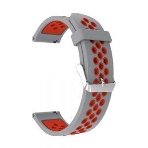 Sportbandje Voor de Samsung Gear S3 Classic Frontier - Siliconen Armband Polsband Strap Band Sportbandje - grijs - rood-003