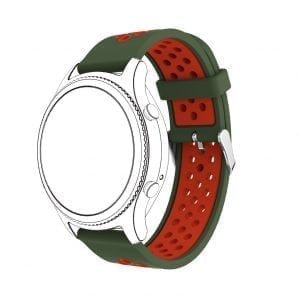 Sportbandje Voor de Samsung Gear S3 Classic Frontier - Siliconen Armband Polsband Strap Band Sportbandje - groen - rood-001