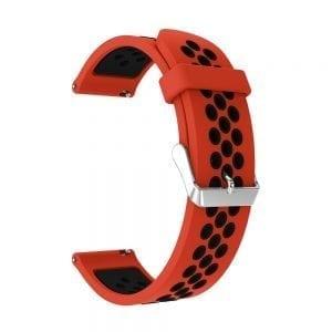 Sportbandje Voor de Samsung Gear S3 Classic Frontier - Siliconen Armband Polsband Strap Band Sportbandje - rood - zwart-004