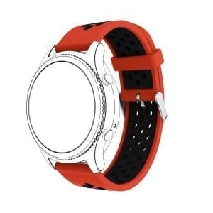 Sportbandje Voor de Samsung Gear S3 / Galaxy watch 46mm - Siliconen Armband / Polsband / Strap Band / Sportbandje - rood - zwart