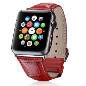 krokodil leren bandje rood met klassieke gesp voor Apple Watch 42mm-301