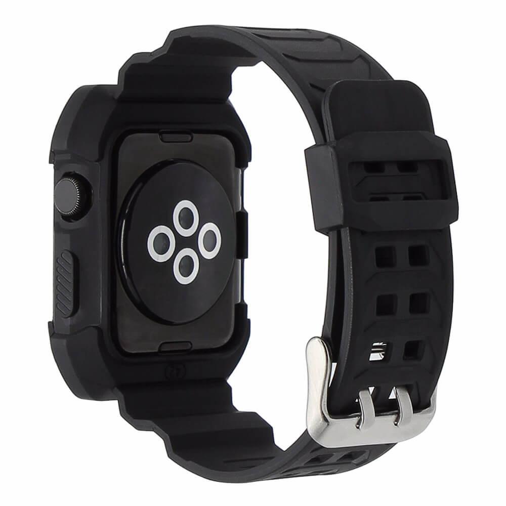 innovative design f6fbb 961d2 2 in 1 vervangend Siliconde Apple Watch bandje zwart en cover voor Apple  Watch Series 1-2-3 (38mm)