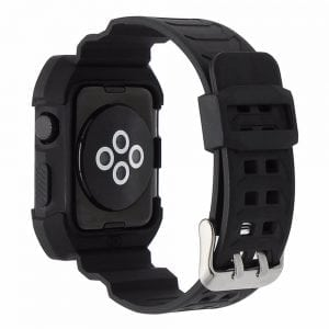 2 in 1 vervangend Siliconde Apple Watch bandje zwart - wit en cover voor Apple Watch Series 1-2-3 (38mm)