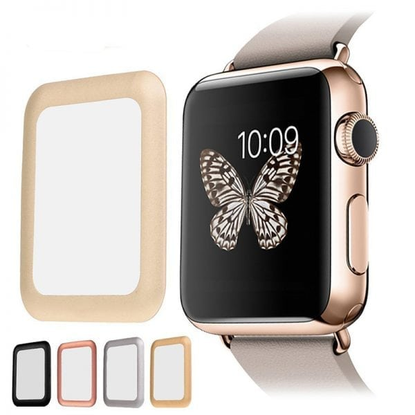 38mm full Cover 3D Tempered Glass Screen Protector For Apple watch iWatch 1 gold edge_006