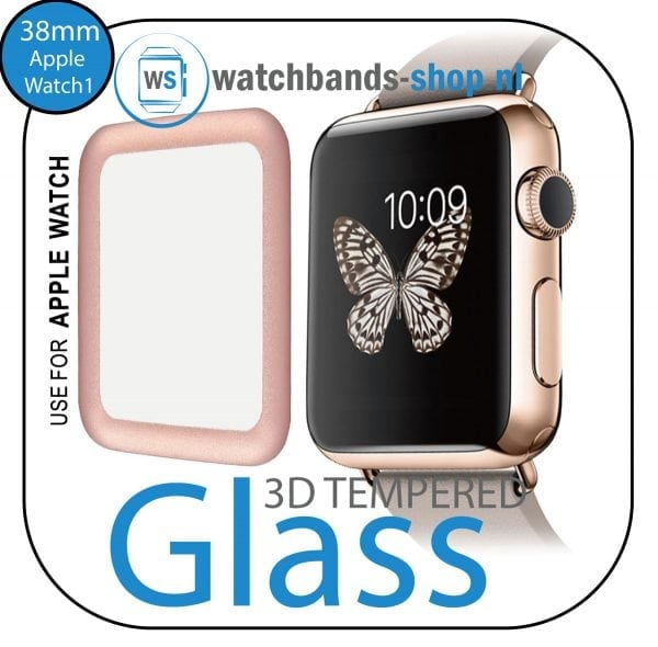 38mm full Cover 3D Tempered Glass Screen Protector For Apple watch iWatch 1 rose gold edge-001