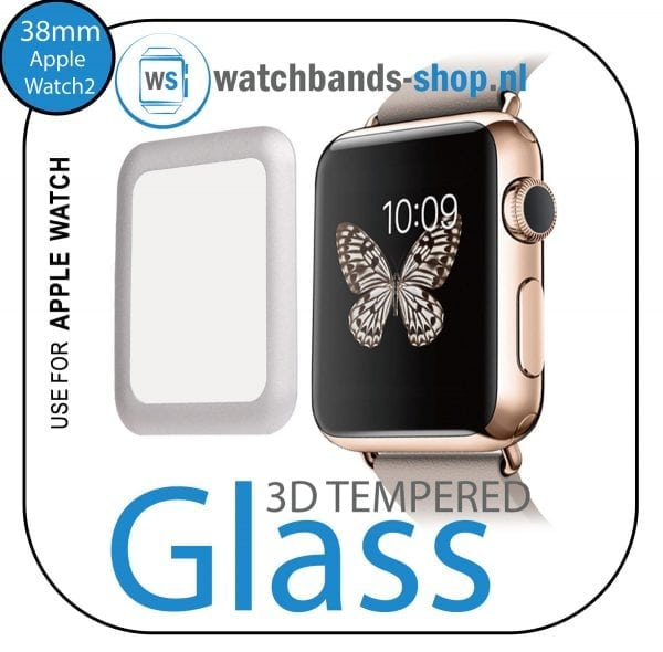 38mm full Cover 3D Tempered Glass Screen Protector For Apple watch iWatch 2 silver edge-100