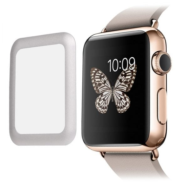 38mm full Cover 3D Tempered Glass Screen Protector For Apple watch iWatch 3 silver edge_006